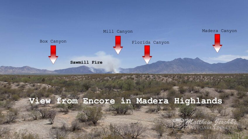 Sawmill fire as viewed from Encore in Madera Highlands Sahuarita, Arizona