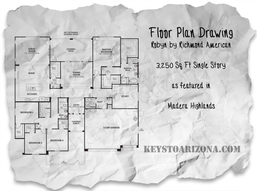 Robyn floorplan as featured in Madera Highlands Estates, Sahuarita Arizona