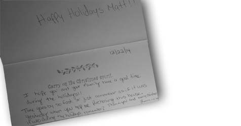Thankful friend goes to contract on Christmas